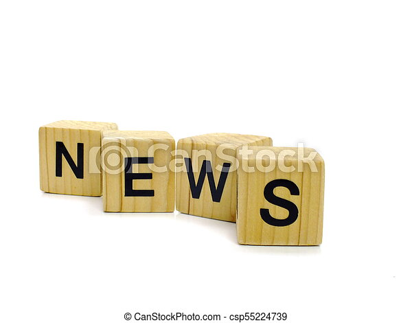 news word wooden blocks on white background - csp55224739