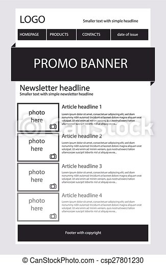 Newsletter Black And White Template With Business Style - Black and white newsletter templates