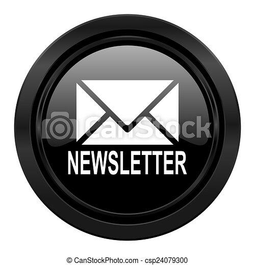 newsletter black icon - csp24079300