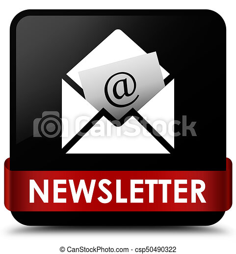 Newsletter black square button red ribbon in middle - csp50490322