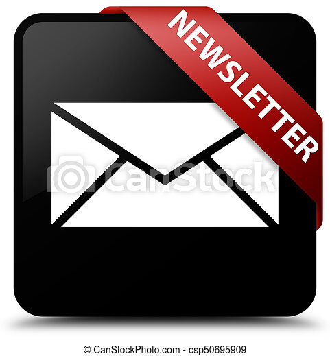 Newsletter black square button red ribbon in corner - csp50695909