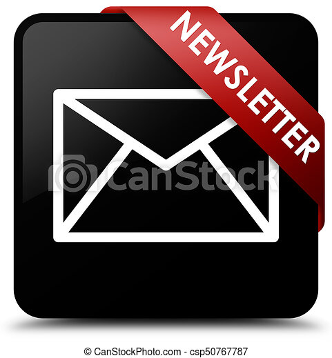 Newsletter black square button red ribbon in corner - csp50767787