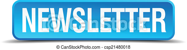 newsletter blue 3d realistic square isolated button - csp21480018