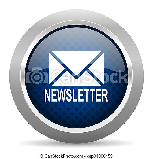 newsletter blue circle glossy web icon on white background, round button for internet and mobile app - csp31006453