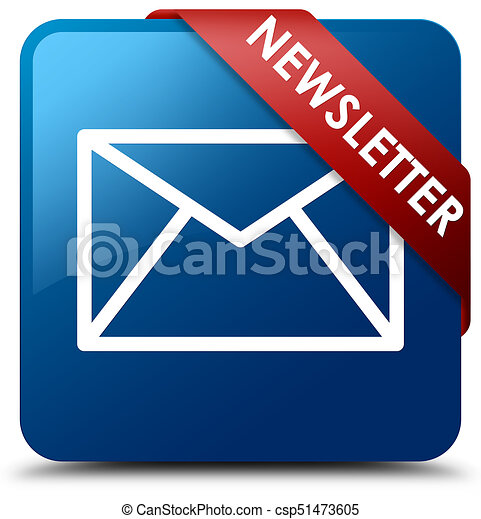 Newsletter blue square button red ribbon in corner - csp51473605