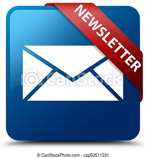 Newsletter blue square button red ribbon in corner - csp50511331