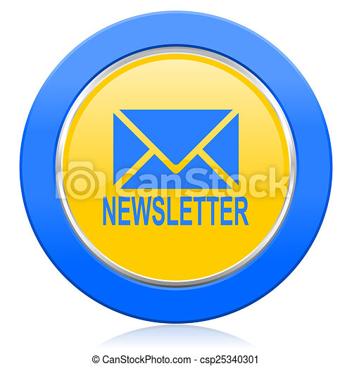 newsletter blue yellow icon - csp25340301