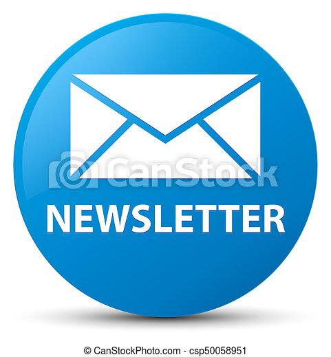 Newsletter cyan blue round button - csp50058951