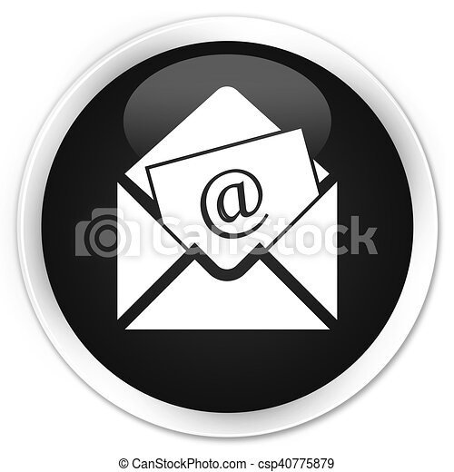 Newsletter email icon black glossy round button - csp40775879
