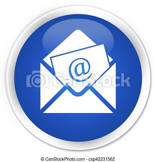 Newsletter email icon blue glossy round button - csp42231562