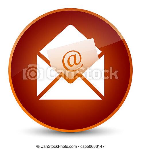 Newsletter email icon elegant brown round button - csp50668147