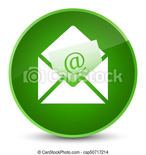 Newsletter email icon elegant green round button - csp50717214