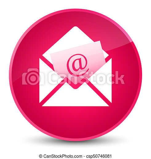 Newsletter email icon elegant pink round button - csp50746081