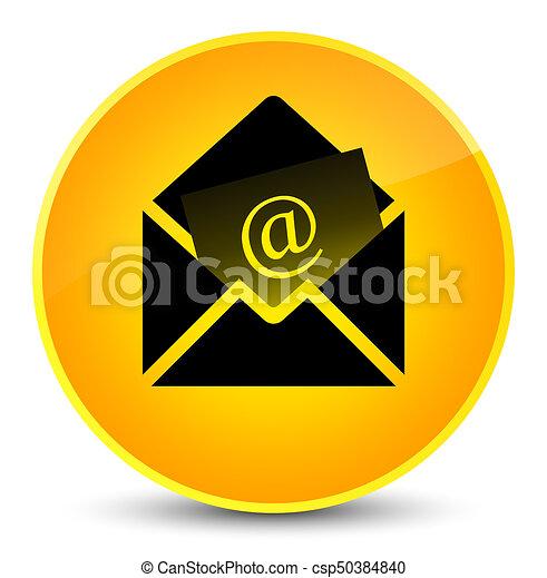 Newsletter email icon elegant yellow round button - csp50384840