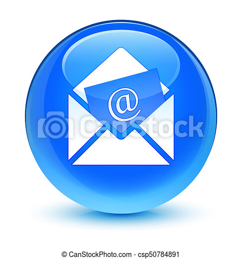 Newsletter email icon glassy cyan blue round button - csp50784891