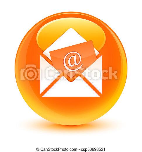Newsletter email icon glassy orange round button - csp50693521