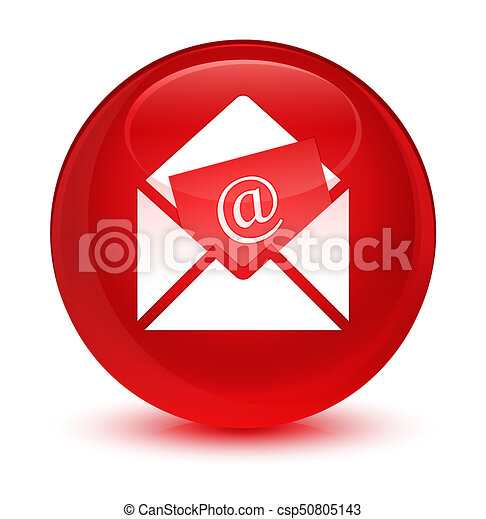 Newsletter email icon glassy red round button - csp50805143