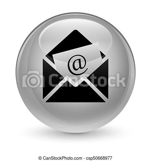 Newsletter email icon glassy white round button - csp50668977