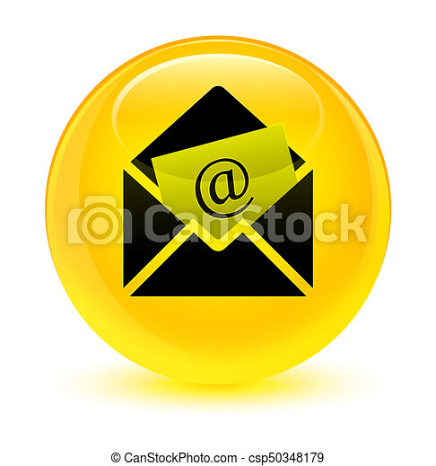 Newsletter email icon glassy yellow round button - csp50348179