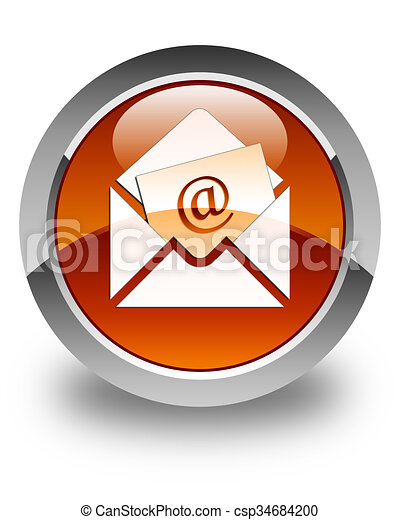 Newsletter email icon glossy brown round button - csp34684200