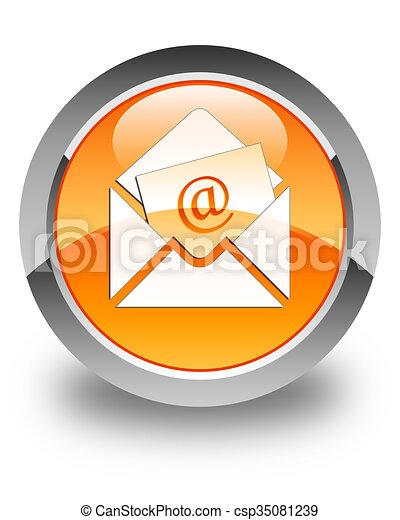 Newsletter email icon glossy orange round button - csp35081239