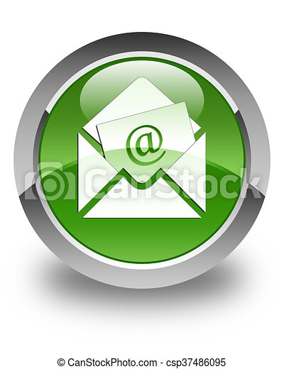 Newsletter email icon glossy soft green round button - csp37486095
