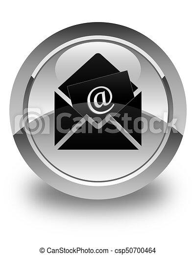 Newsletter email icon glossy white round button - csp50700464