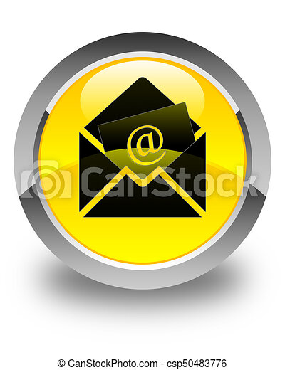 Newsletter email icon glossy yellow round button - csp50483776