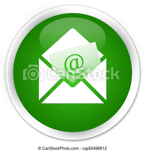 Newsletter email icon premium green round button - csp50496812