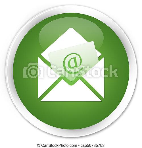 Newsletter email icon premium soft green round button - csp50735783