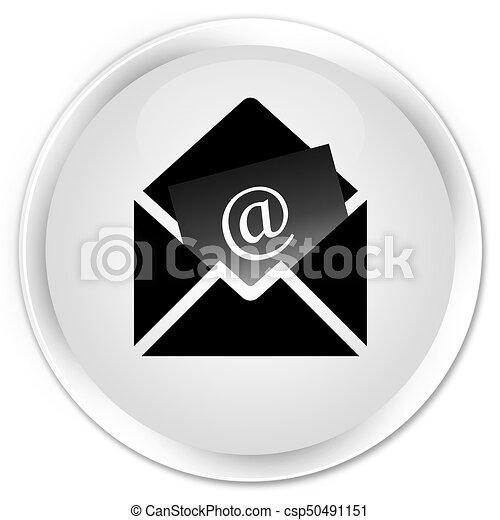 Newsletter email icon premium white round button - csp50491151