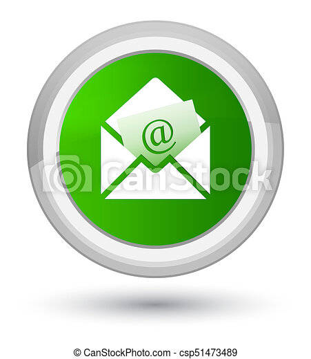 Newsletter email icon prime green round button - csp51473489