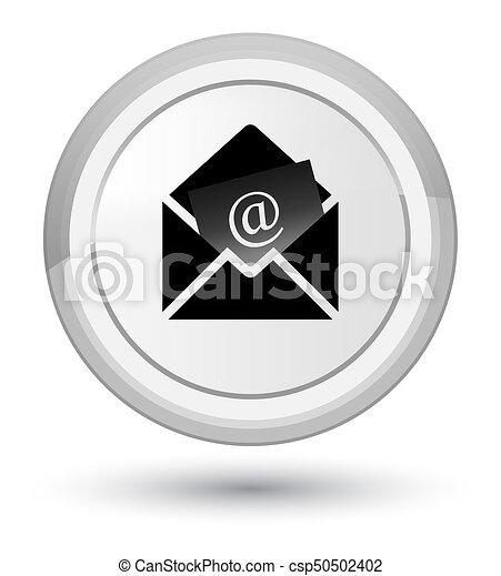 Newsletter email icon prime white round button - csp50502402