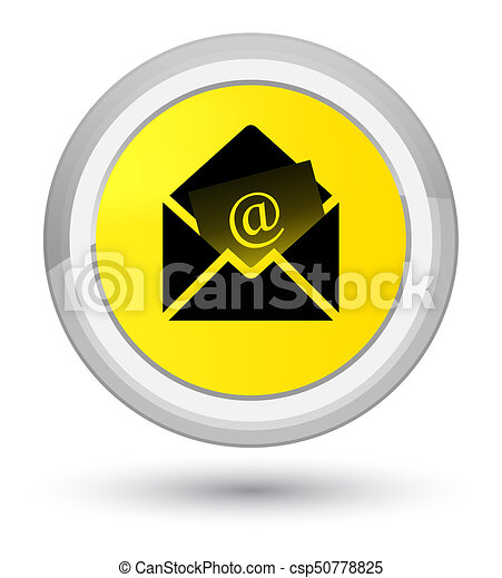 Newsletter email icon prime yellow round button - csp50778825
