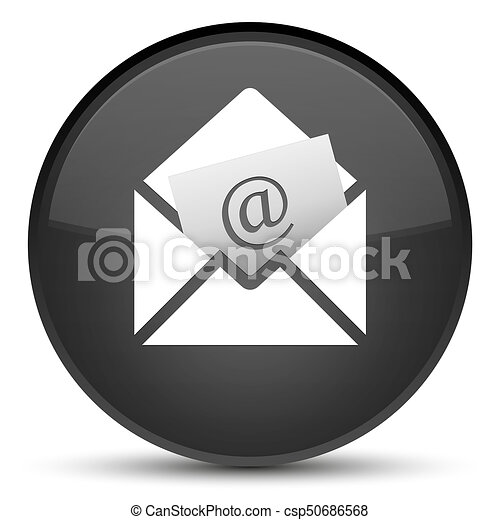 Newsletter email icon special black round button - csp50686568