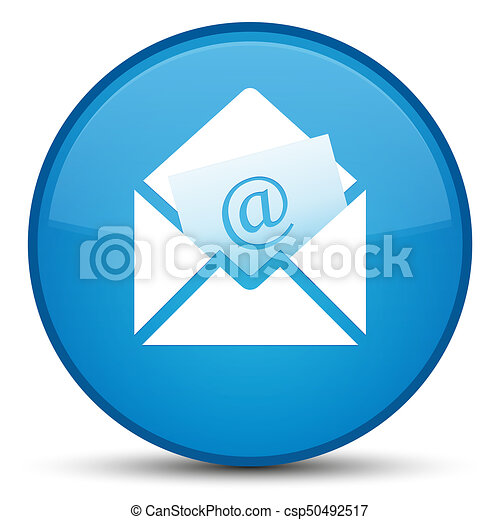 Newsletter email icon special cyan blue round button - csp50492517