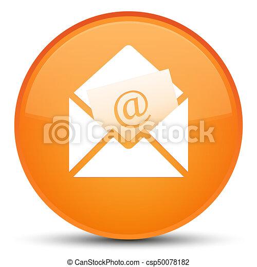 Newsletter email icon special orange round button - csp50078182