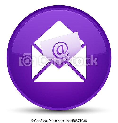 Newsletter email icon special purple round button - csp50671086