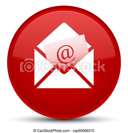 Newsletter email icon special red round button - csp50066015