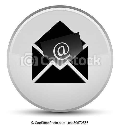 Newsletter email icon special white round button - csp50672585