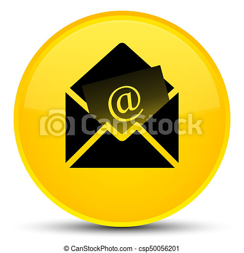 Newsletter email icon special yellow round button - csp50056201