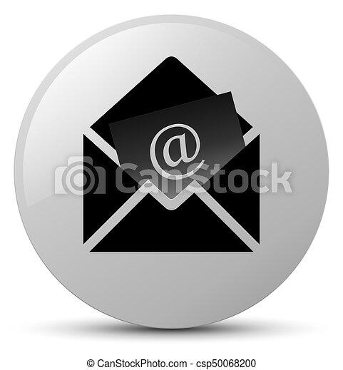 Newsletter email icon white round button - csp50068200