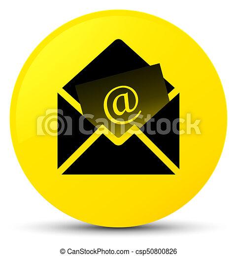 Newsletter email icon yellow round button - csp50800826