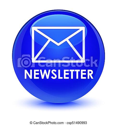 Newsletter glassy blue round button - csp51490993