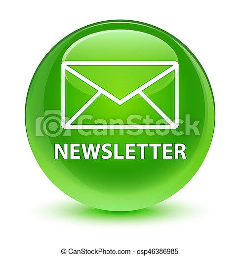 Newsletter glassy green round button - csp46386985