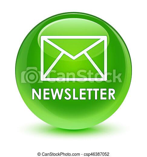 Newsletter glassy green round button - csp46387052