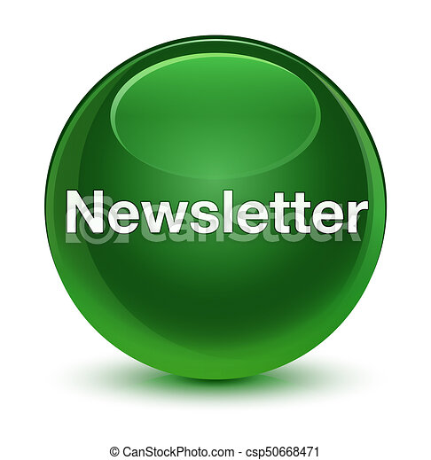 Newsletter glassy soft green round button - csp50668471