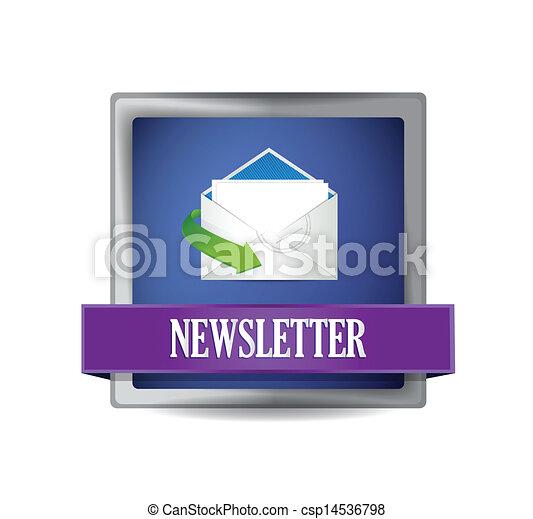 Newsletter glossy blue icon illustration - csp14536798