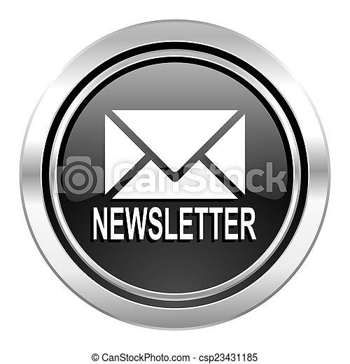 newsletter icon, black chrome button - csp23431185