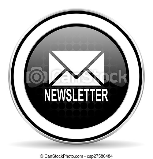 newsletter icon, black chrome button - csp27580484